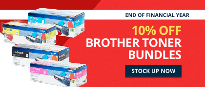 Save 10% on all Brother toner bundles for EOFY. Hurry, offer finishes june 30, 2020