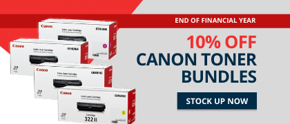 Save 10% on all Canon toner bundles for EOFY. Hurry, offer finishes june 30, 2020