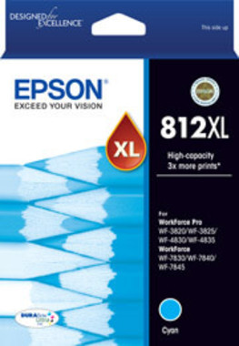 Epson 812XL DURABrite High Capacity Cyan Ink Cartridge