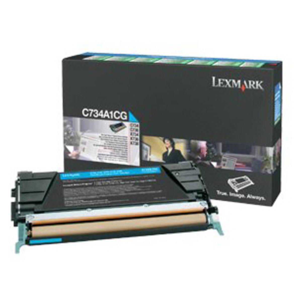 Lexmark C734A1CG Cyan Prebate Toner Cartridge
