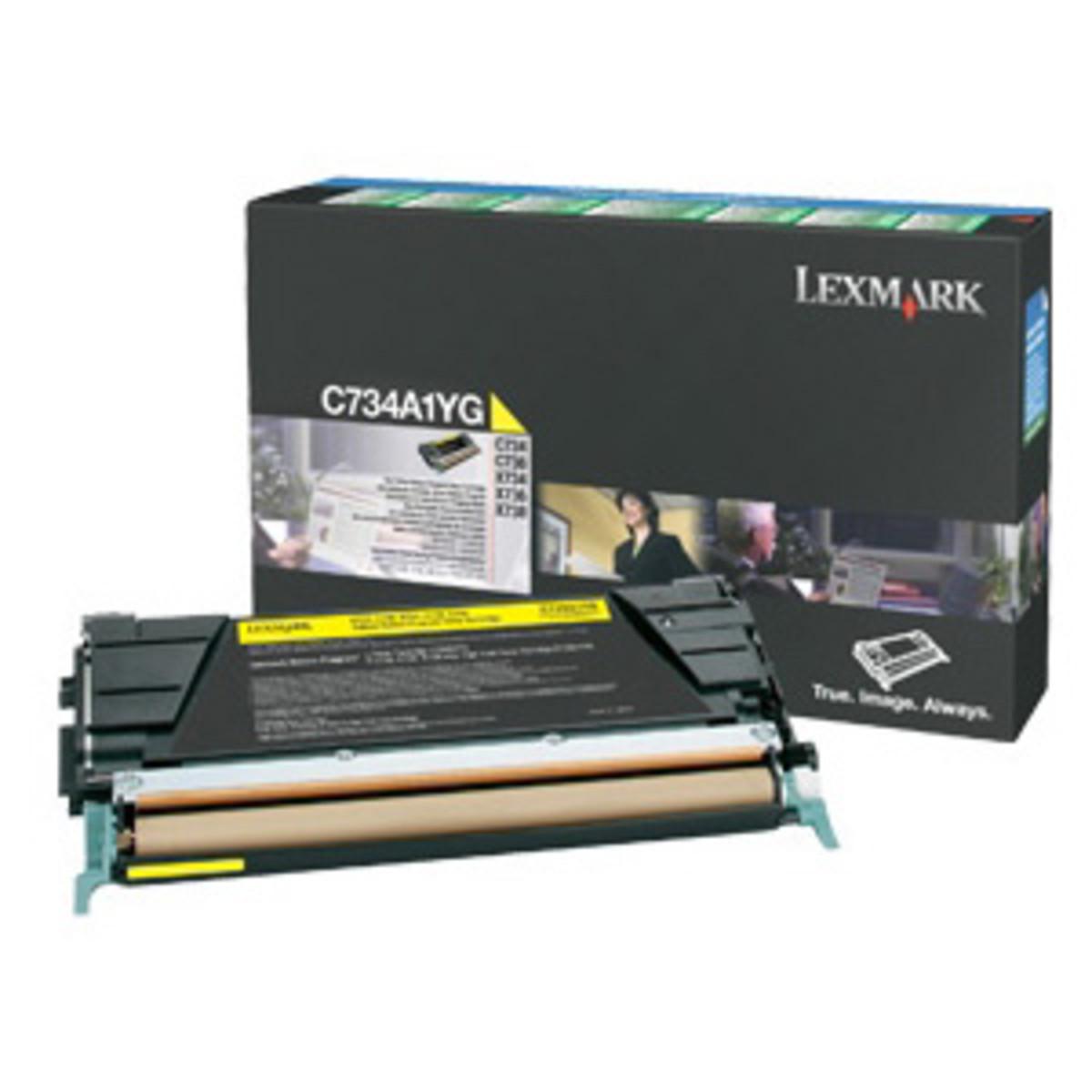 Lexmark C734A1YG Yellow Prebate Toner Cartridge