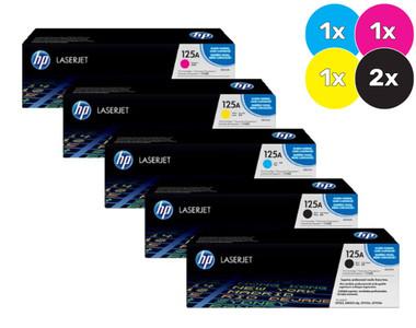 HP 125A Bundle, Includes 2 x Blk, 1 each Cyan, Magenta, Yellow
