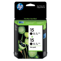 HP 15 (CC626AA) Black Ink Cartridge - Twin Pack