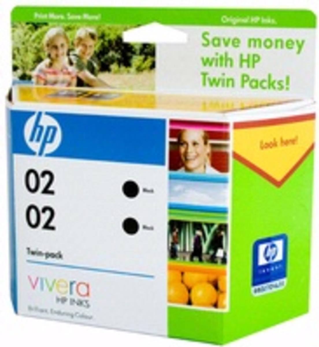 HP 02 (CE015AA) Black Ink Cartridge - Twin Pack