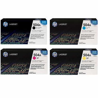 HP 504A Toner Cartridges Value Pack - Includes: [1 x Black, Cyan, Magenta, Yellow]