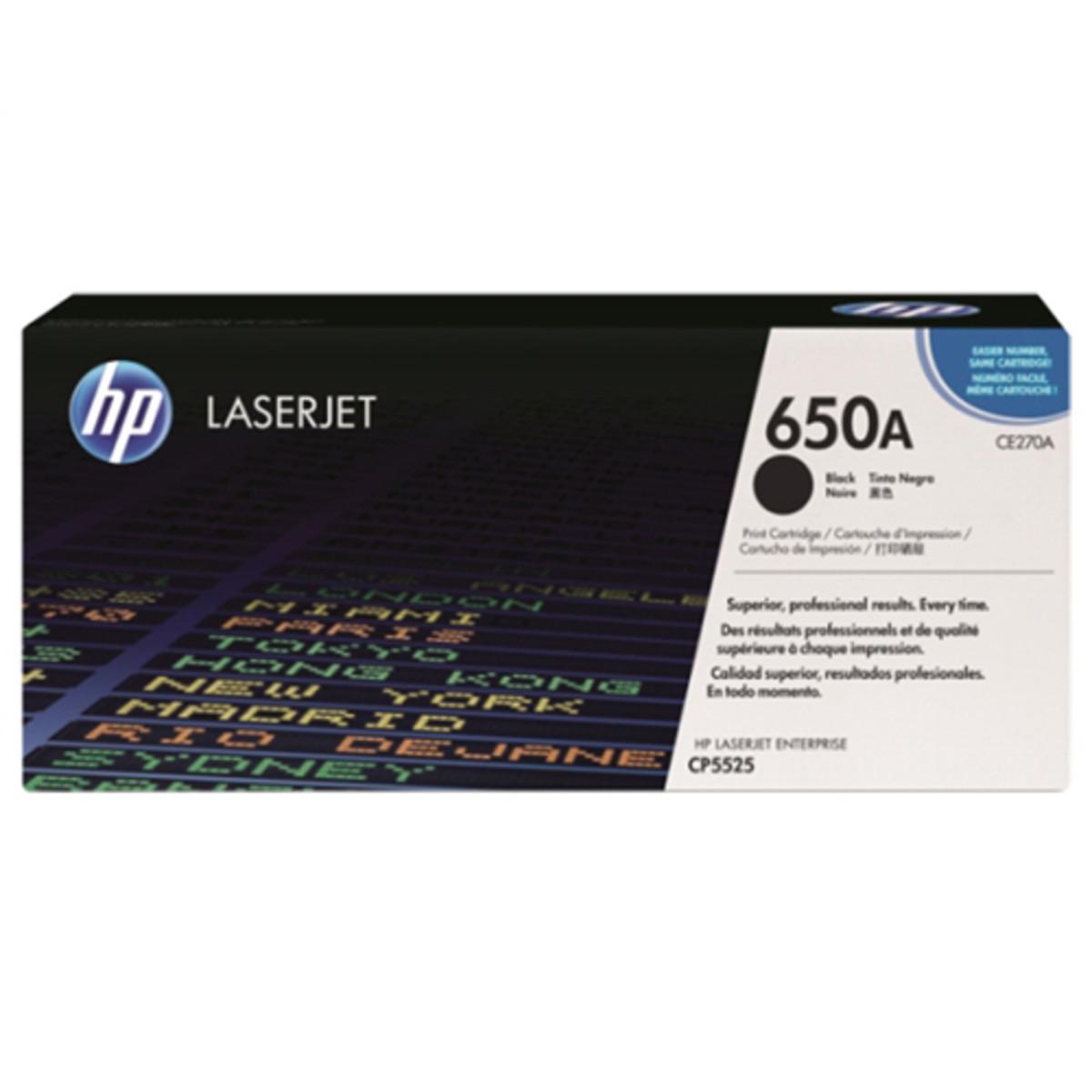 HP 650A (CE270A) Black Toner Cartridge