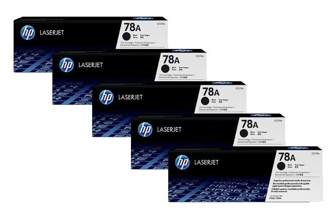 HP 78A Toner Cartridges Value Pack - Includes: [5 x Black]