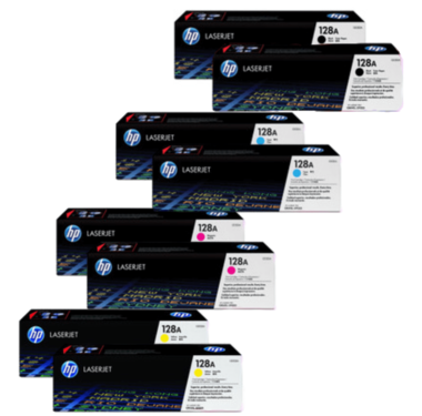 HP 128A Toner Cartridges Value Pack - Includes: [2 x Black, Cyan, Magenta, Yellow]