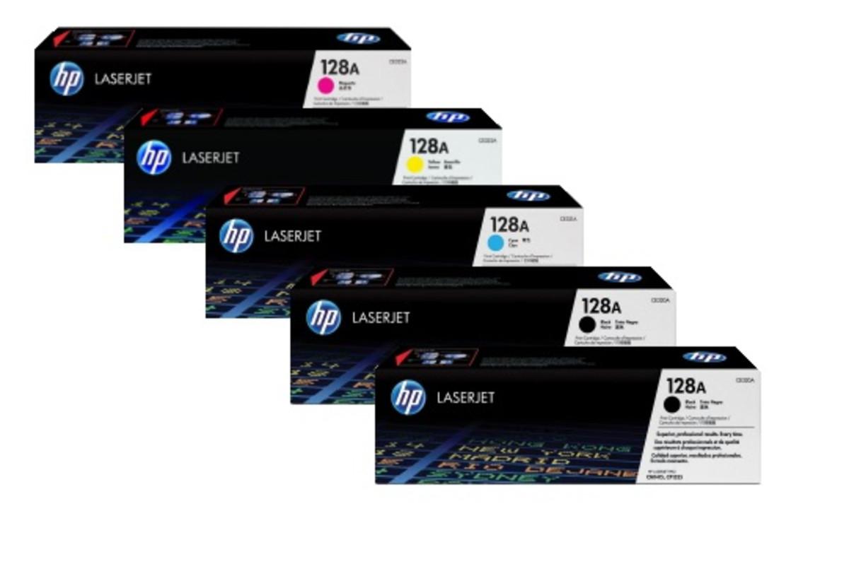 HP 128A CE320A Bundle, Includes 2 x Black, 1 each Cyan, Magenta, Yellow - Claim 20% Back in EFT