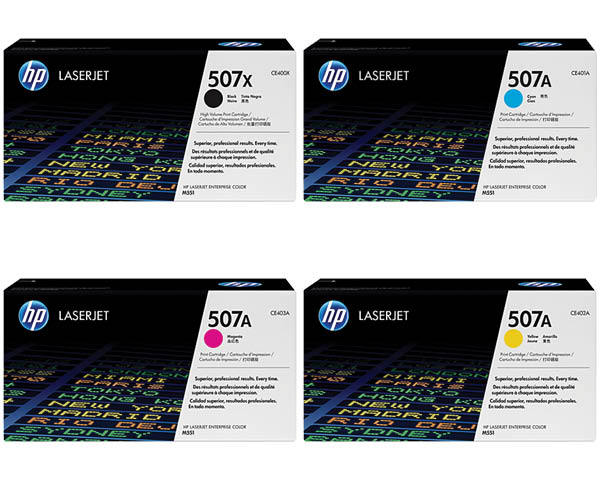 HP 507A Toner Cartridges Value Pack - Includes: [1 x Black, Cyan, Magenta, Yellow]