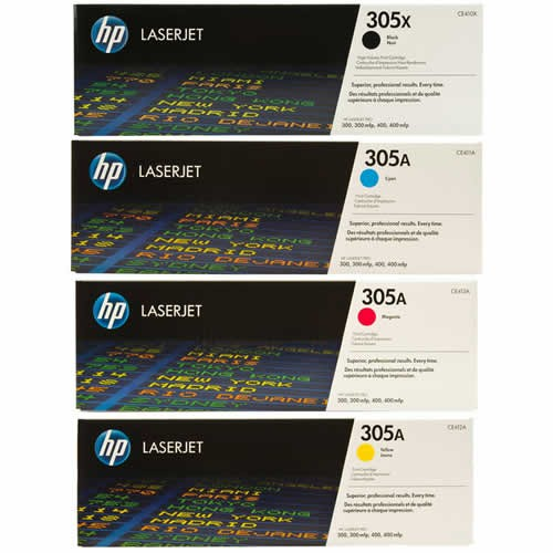 HP 305A Toner Cartridges Value Pack - Includes: [1 x Black, Cyan, Magenta, Yellow]