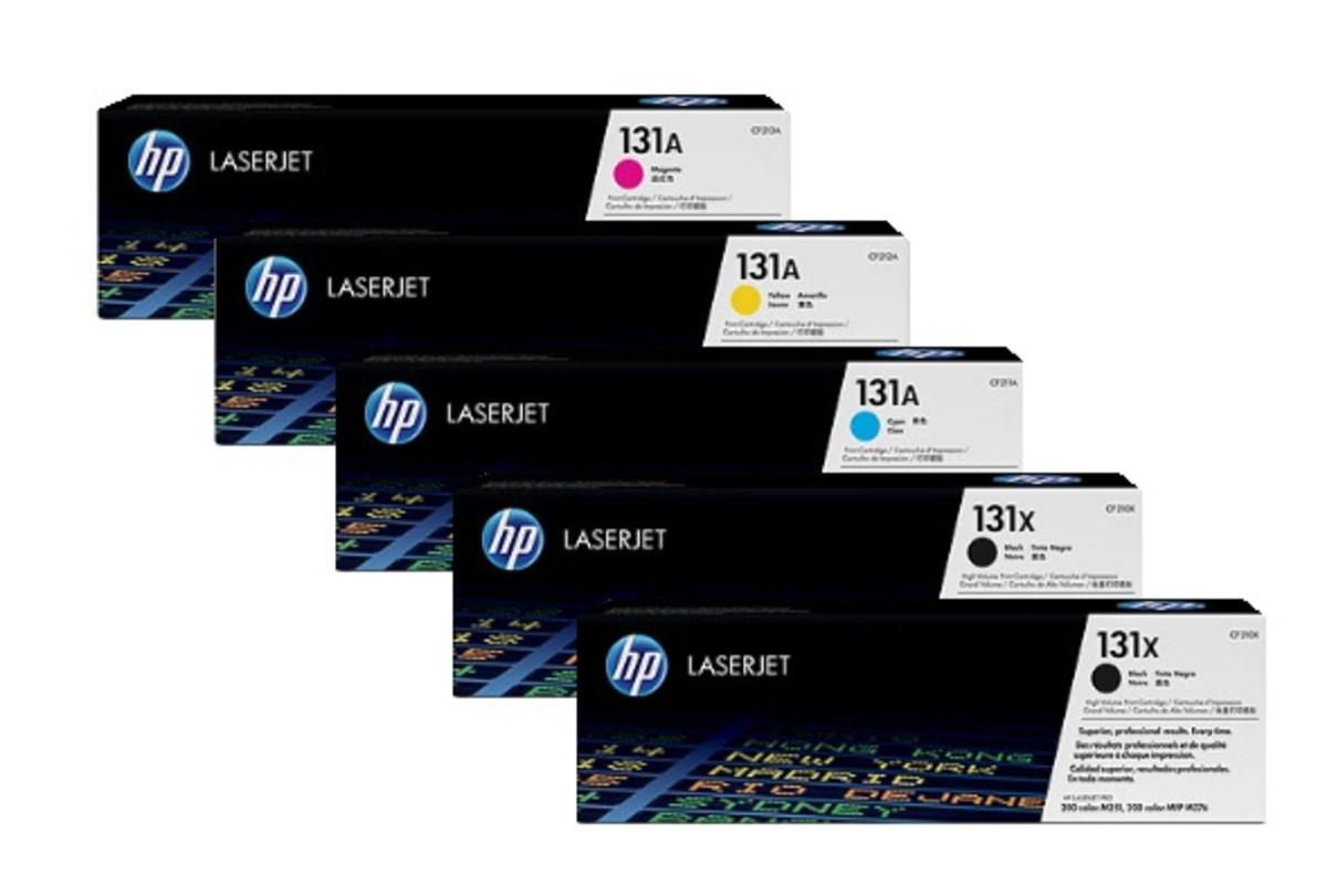 HP 131X Bundle, 2 x Black, 1 each Cyan, Magenta, Yellow