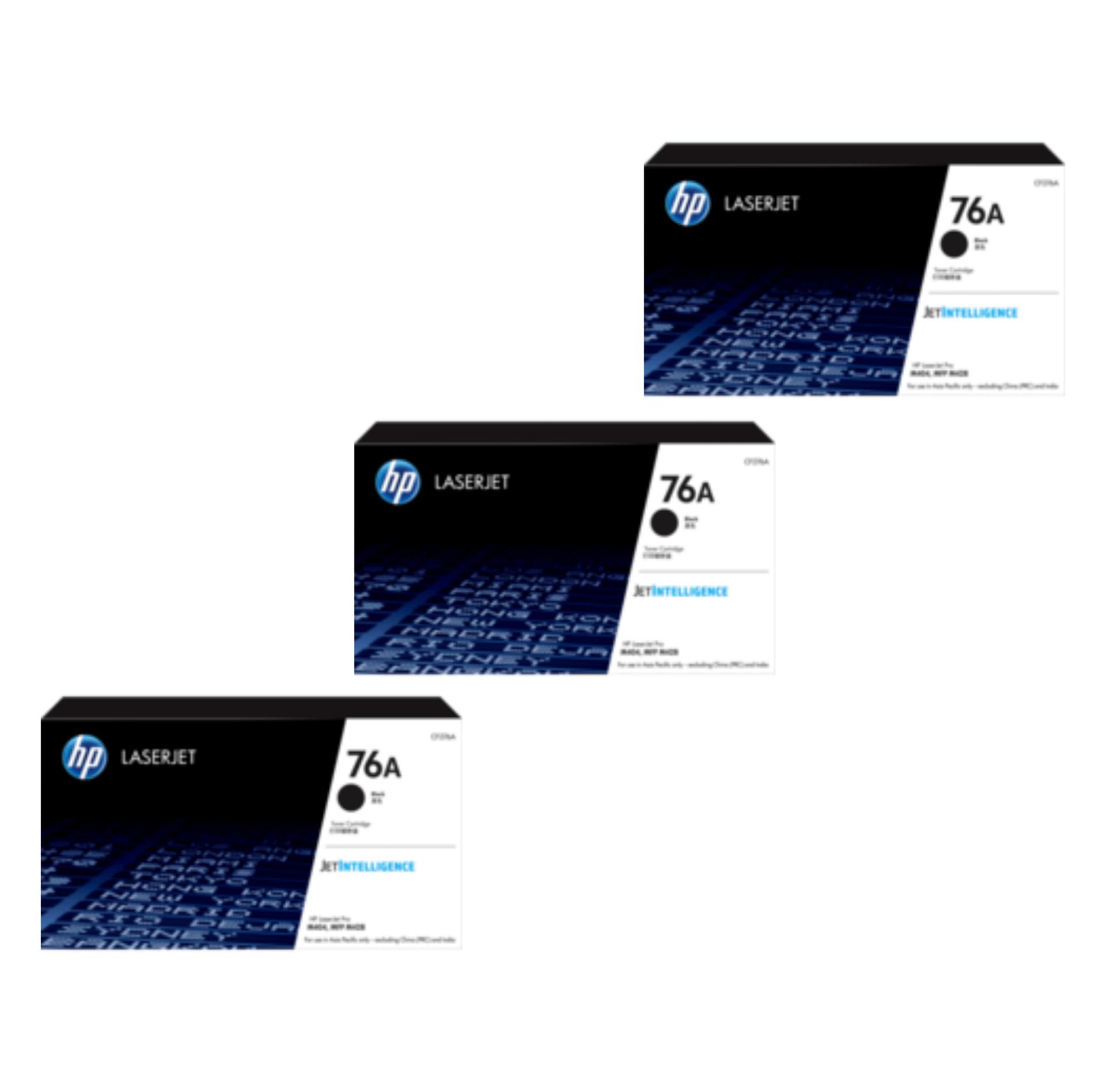 HP 76A Toner Cartridges Value Pack - Includes: [3 x Black]