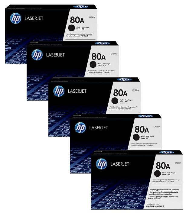 HP 80A Toner Cartridges - Includes: [5 x Black]