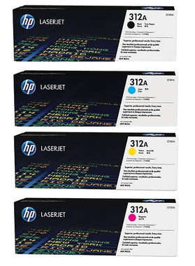 HP 312A Toner Cartridges Value Pack - Includes: [1 x Black, Cyan, Magenta, Yellow]