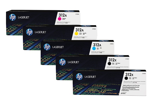 HP 312X Toner Cartridges Value Pack - Includes: [2 x Black, 1 x Cyan, Magenta, Yellow]