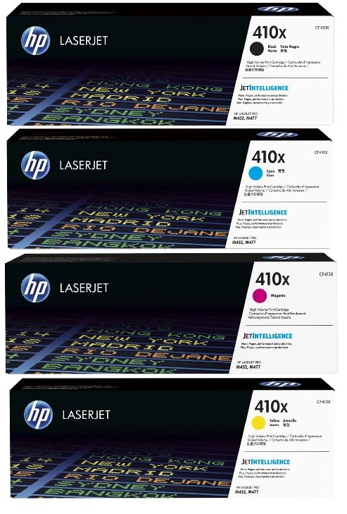 HP 410X Toner Cartridges Value Pack - Includes: [1 x Black, Cyan, Magenta, Yellow]