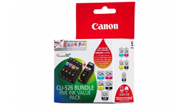 Canon CLI526 Ink Cartridge Value Pack - Includes: [2 x Black, 1 x Cyan, Magenta, Yellow]