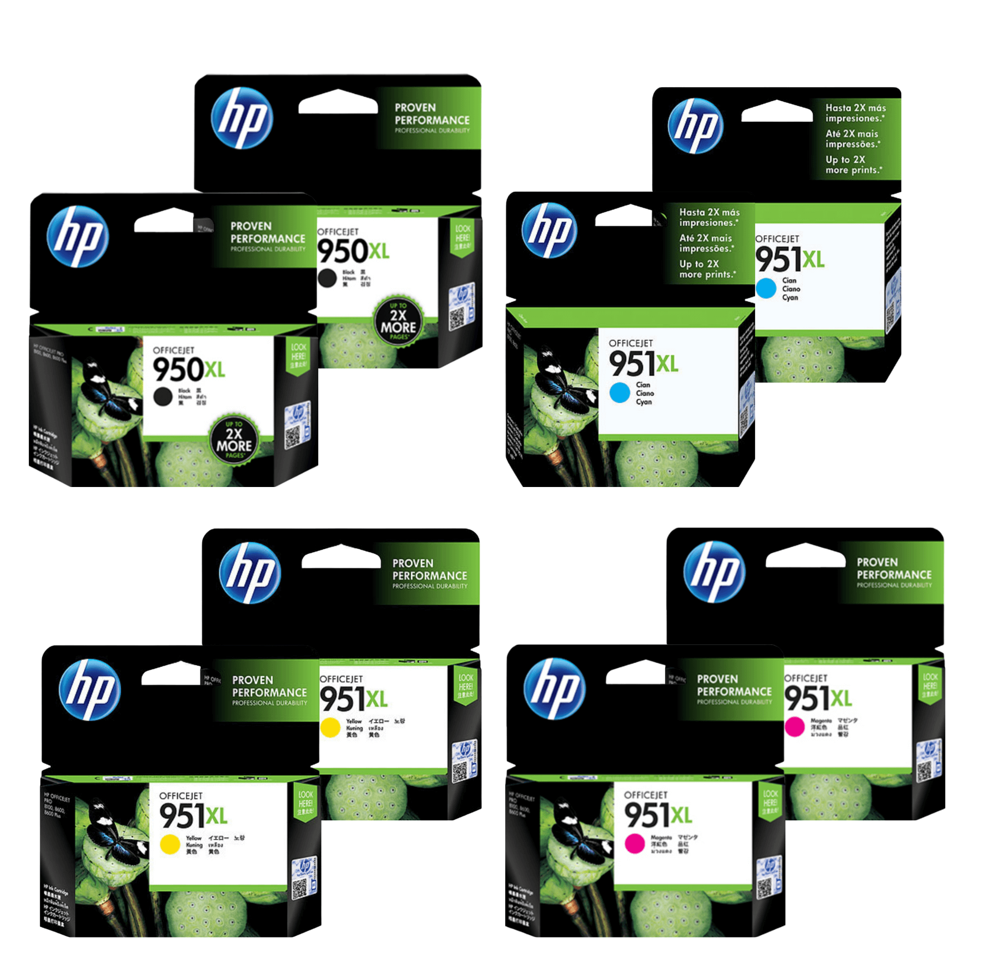 HP 950/951XL Ink Cartridge Value Pack - Includes: [2 x Black, Cyan, Magenta, Yellow]