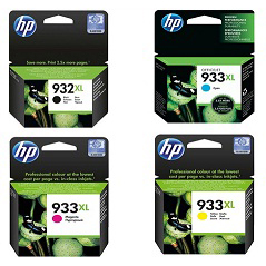 HP 932XL, 933XL Ink Cartridge Value Pack - Includes: [1 x Black, Cyan, Magenta, Yellow]