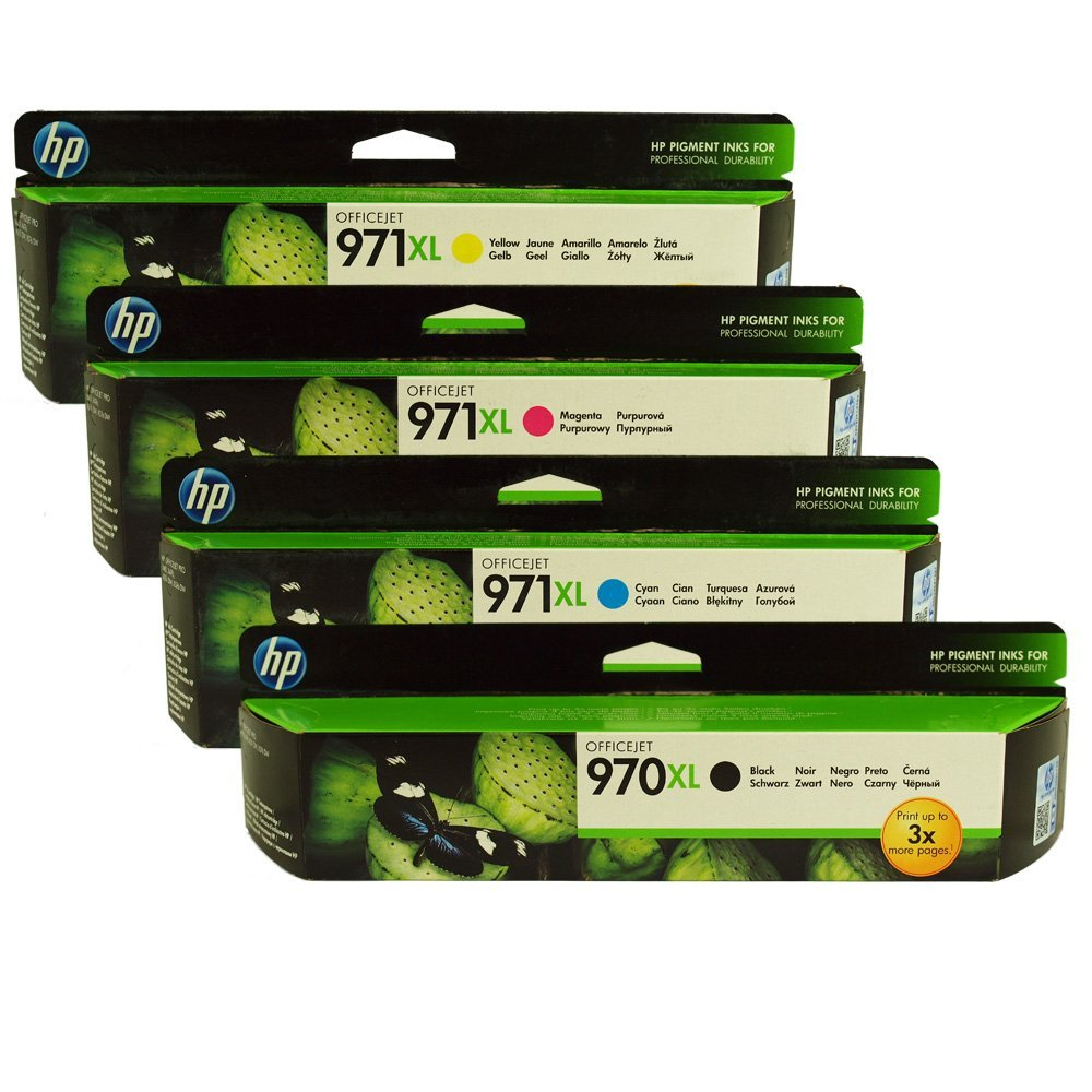 HP 970XL, 971XL Ink Cartridge Value Pack - Includes: [1 x Black, Cyan, Magenta, Yellow]