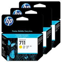 HP 711 (CZ136A) Yellow Ink Cartridges - 3 Pack