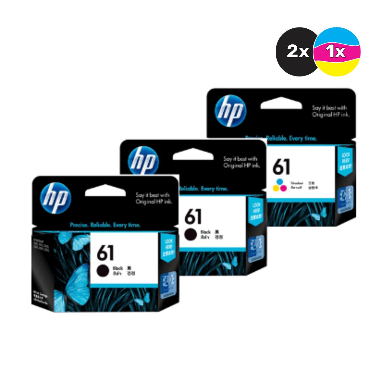 HP 61 Ink Cartridge Value Pack - Includes: [2 x Black, 1 x Tri-Colour]