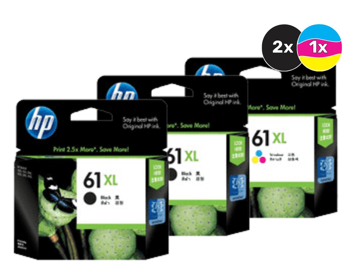 HP 61XL Ink Cartridge Value Pack - Includes: [2 x Black, 1 x Tri-Colour]