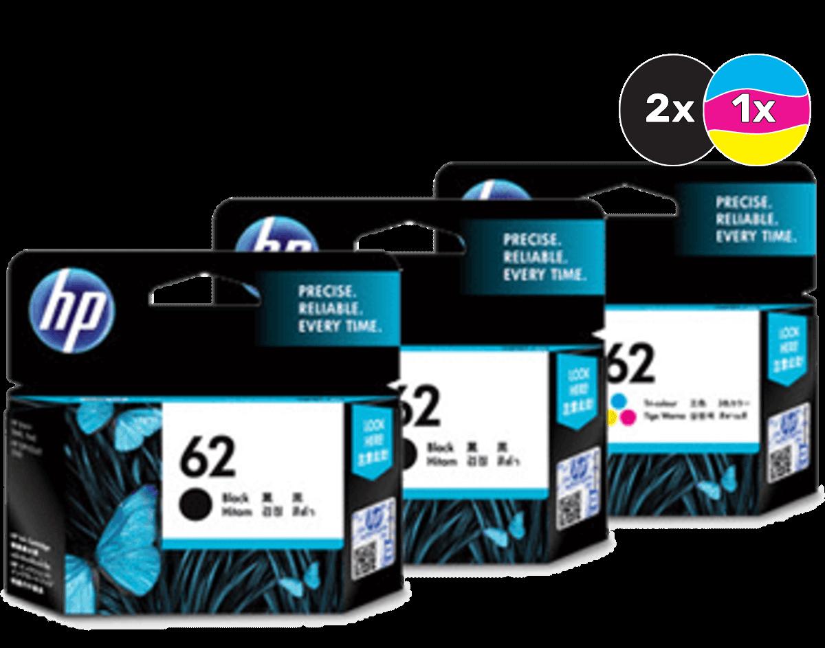 HP 62 Ink Cartridge Value Pack - Includes: [2 x Black, 1 x Tri-Colour]