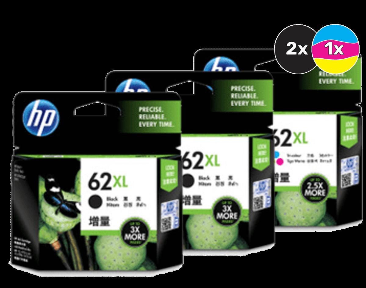HP 62XL Ink Cartridge Value Pack - Includes: [2 x Black, 1 x Tri-Colour]
