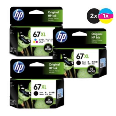 HP 67 Ink Cartridge Value Pack - Includes: [2 x Black, 1 x Tri-Colour]