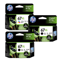 HP 67XL Black and Colour Ink Cartridge Combo Pack - Includes 2 Black and 1 Colour