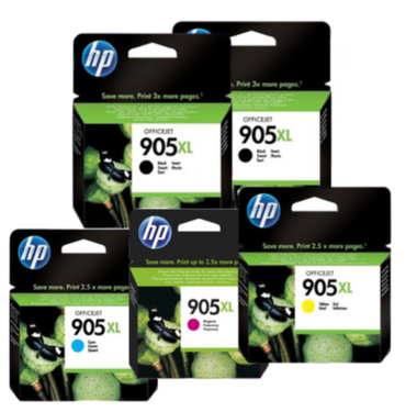 HP 905XL Ink Cartridge Value Pack - Includes: [2 x Black, 1 x Cyan, Magenta, Yellow]