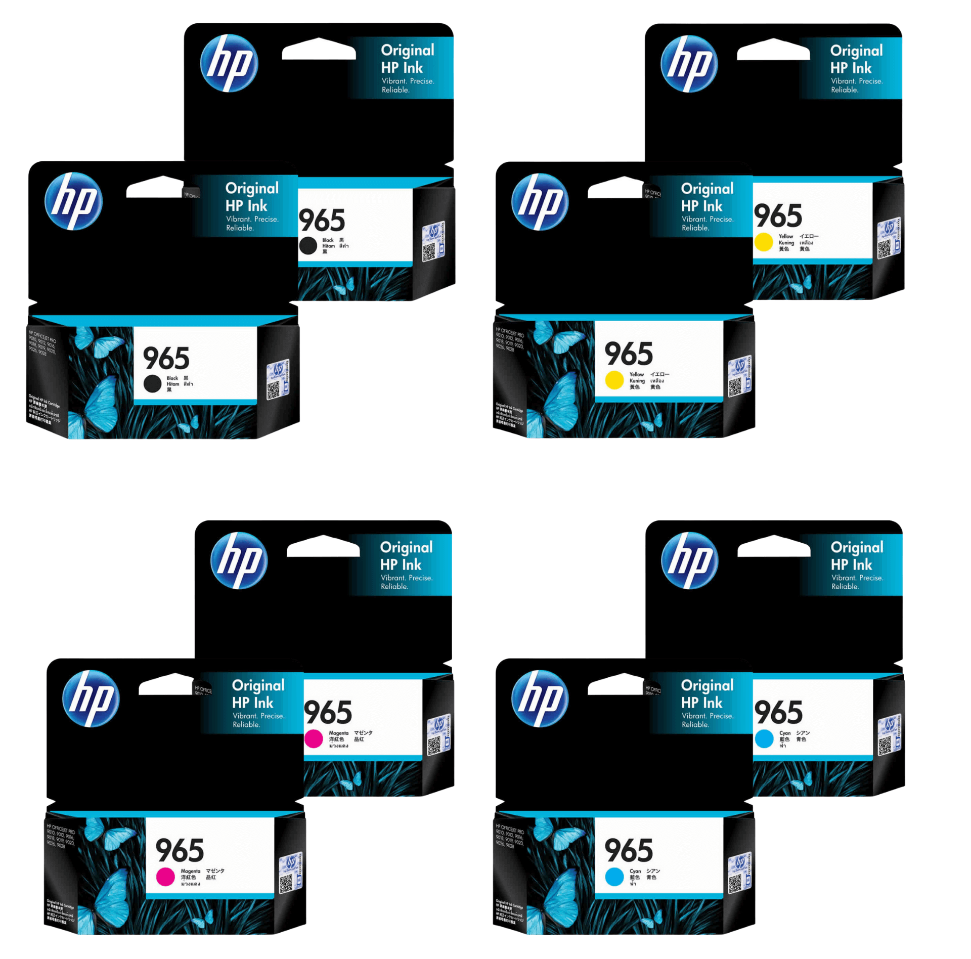 HP 965 Ink Cartridge Value Pack - Includes: [2 x Black, Cyan, Magenta, Yellow]