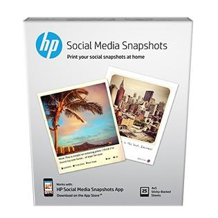 """HP Social Media Snapshots - 25 Sheets 4 x 5"""" photo paper with adhesive backing"""