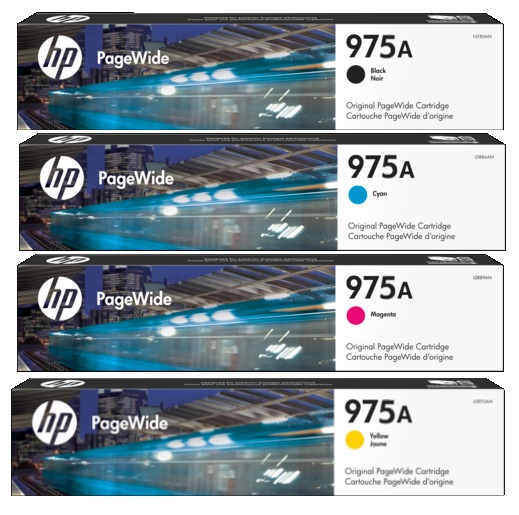 HP 975A Ink Cartridge Value Pack - Includes: [1 x Black, Cyan, Magenta, Yellow]