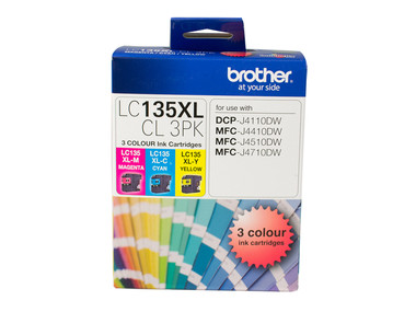 Brother LC135XL Cyan, Magenta, Yellow Ink Cartridge (Original)