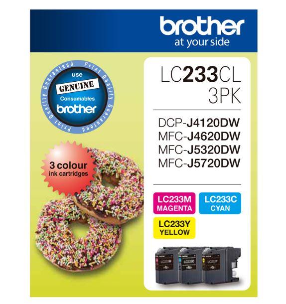 Brother LC233 Cyan, Magenta, Yellow Ink Cartridge (Original)