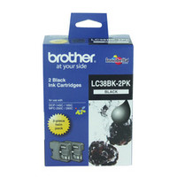 Brother LC-38BK Black Ink Cartridges - Twin Pack
