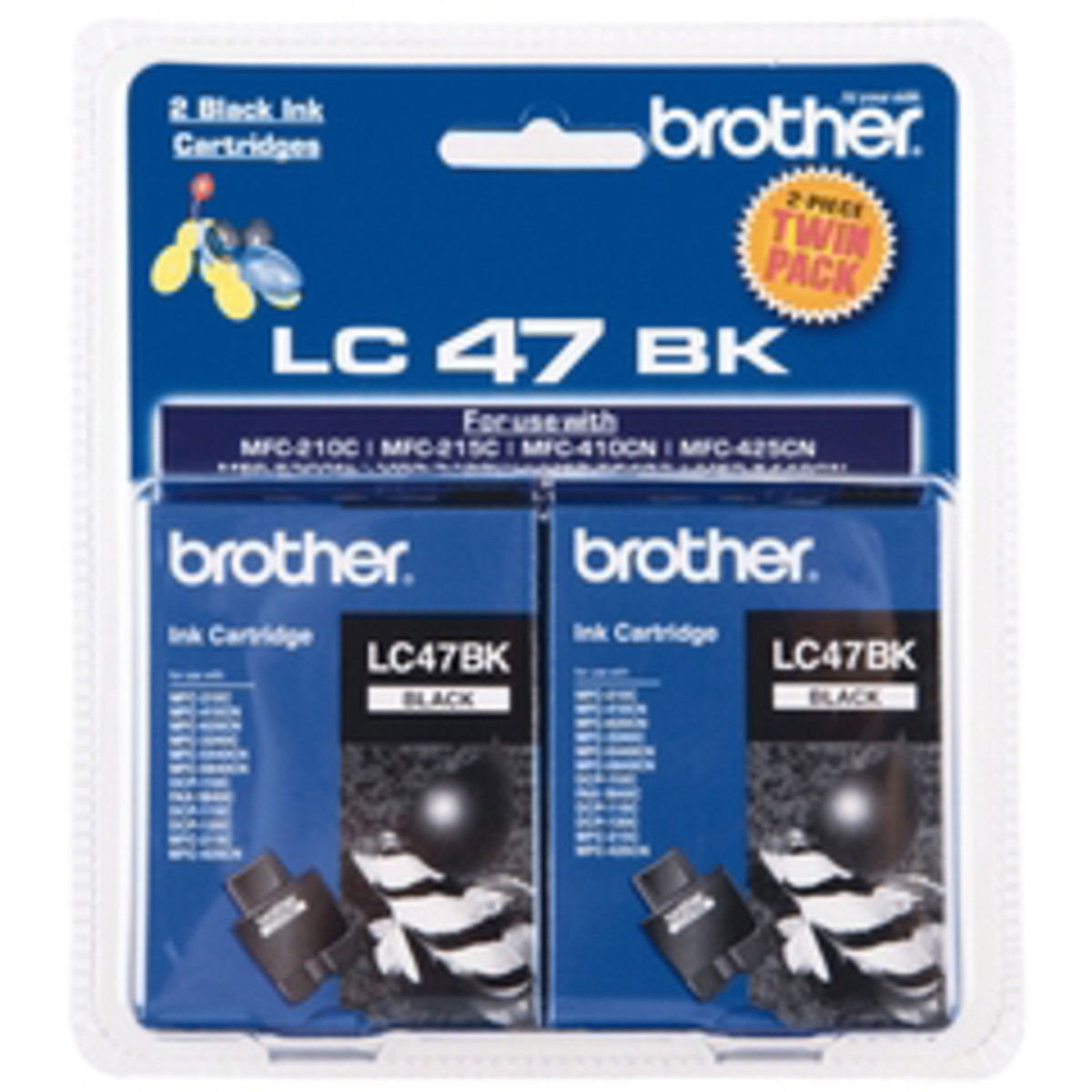 Brother LC-47 Black Ink Cartridges - Twin Pack