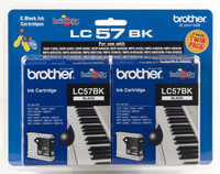 Brother LC-57BK Black Ink Cartridges - Twin Pack