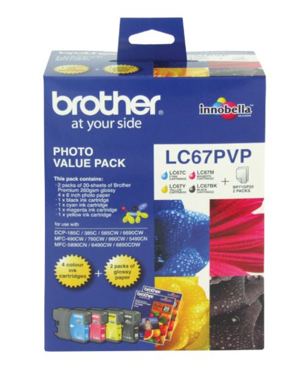 Brother LC-67PVP Photo Value Pack Colour Ink Cartridges - Multi Pack