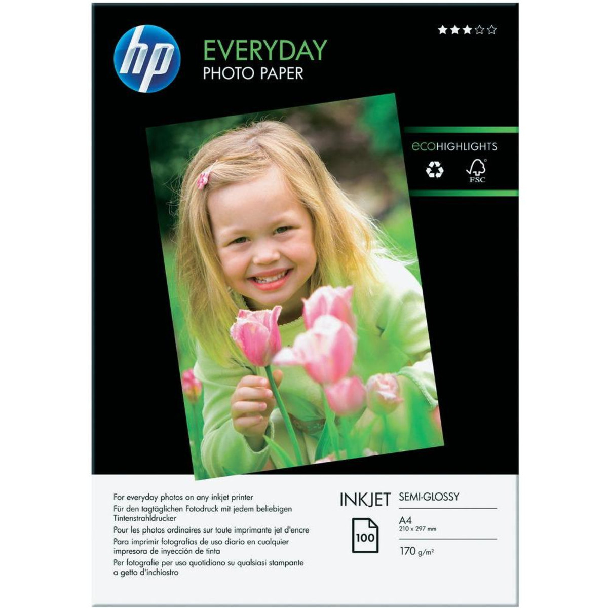HP Everyday Photo Paper, 100 Sheets