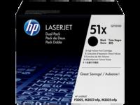 HP 51XD (Q7551XD) Black Toner Cartridges - Twin Pack