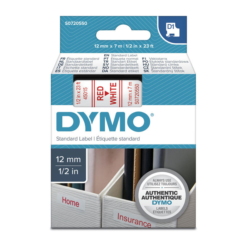 Dymo D1 Red on White 12mmx7m Tape