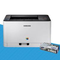 Samsung SL-C430W Colour Laser Printer + CLT-K404S Black Toner Cartridge