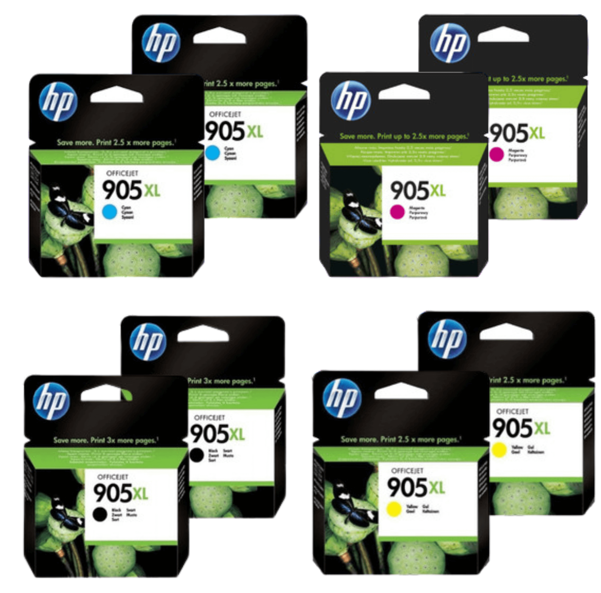 HP 905XL Ink Cartridge Value Pack - Includes: [2 x Black, Cyan, Magenta, Yellow]