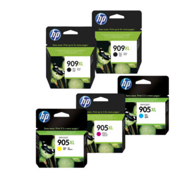 HP 909XL Ink Cartridge Value Pack - Includes: [2 x Black, 1 x Cyan, Magenta, Yellow]