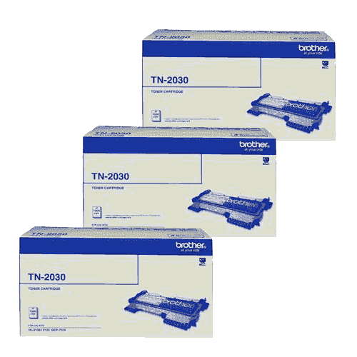 Brother TN2030 Toner Cartridges Value Pack - Includes: [3 x Black]