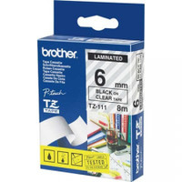 Brother TZ111 6mm Black on Clear Tape